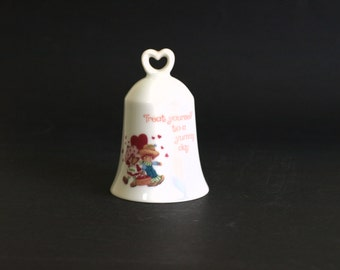 Strawberry Shortcake & Huckleberry Pie Porcelain Bell - Designer Collection 1980 Collectable Figurine Knick Knack - Made in Japan