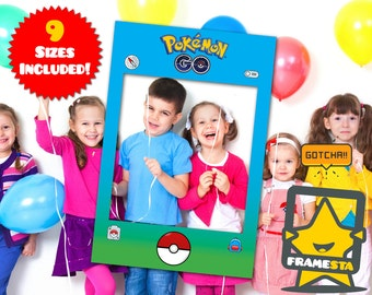 Pokemon Go Party Photo Booth Prop Frame, Instant Digital Download, Pokemon Party, Pokemon Gifts