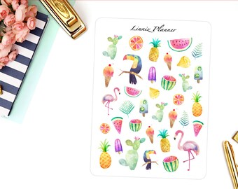 Tropical Decorative Sticker (matte planner sticker, clipart, Erin Condren, Happy Planner, Filofax, Kikki K)