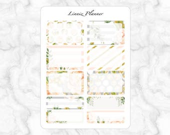 Champagne Bloom Half and Quarter Boxes (matte planner sticker, fits perfect in Erin Condren Life Planner Vertical)
