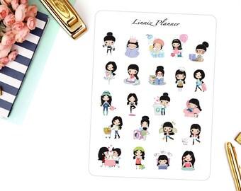 Sampler Sheet Klara | Girl (matte planner stickers, perfect for planners)