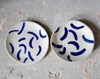 Blue smudge dish - Hockney inspired patterned plate - jewellery pot - serving side plate