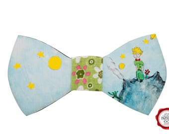 Painted Little Prince Wood Bow Tie