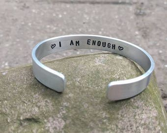 HANDMADE Narrow 1 cm aluminum bangle bracelet with own text inside (on order and custom made)