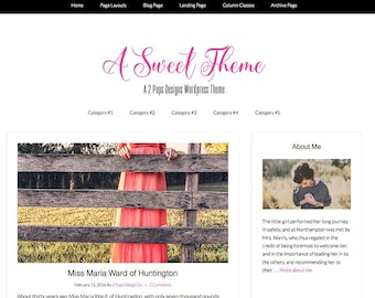 Wordpress Theme - Pink and Black - Responsive Website Design - Wordpress Template Genesis Child Theme