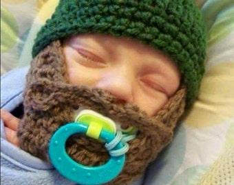 Custom Beard Crochet Hat- Baby Beard Hat- Child Beard Hat- Bobble Beard Hat