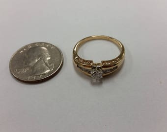 Vintage 14k yellow gold diamond engagement ring 2.8mm diamond baer