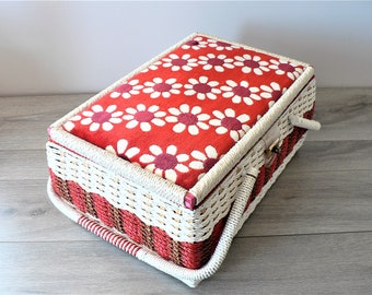 Unused Vintage Mod Floral Red and White Wicker Sewing Basket - Large Sewing Basket - Craft Basket - Craft Storage