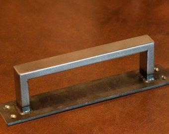 """1/2"""" x 1"""" Rectangle Steel Sliding Barn Door Handle on Low Profile 2"""" Backer - Loft Door, Industrial Door 10"""" - 26"""""""