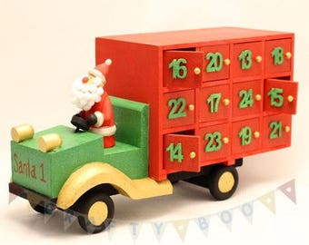 Advent Calendar, Wooden Santa Advent Truck, Christmas calendar, countdown to Christmas,