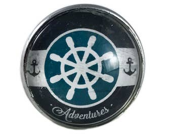 "Nautical Boat Ship Steering Wheel, Helm ""Adventures"" Glass Drawer, Cabinet or Knob Pull"