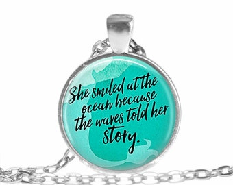 She Smiled at the Ocean Necklace Mermaid Necklace Ocean Lover jewelry Ocean necklace Mermaid jewelry Beach Jewelry gift Mermaid Keychain