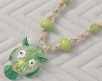 Glass Owl Pendant Hemp Necklace