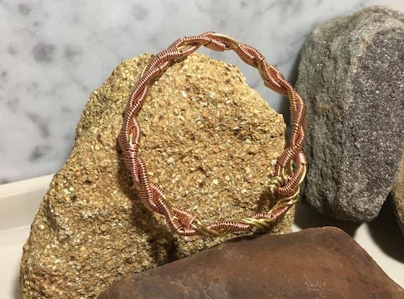 copper wire cuff bracelet, copper and brass  bracelet, copper unisex cuff bracelet, handmade copper cuff bracelet, artisans cuff bracelet