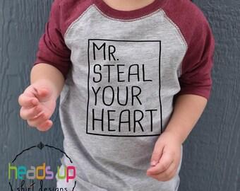 Toddler/Baby Boy Valentine's Day Shirt Raglan - Mr. Steal Your Heart Shirt/Bodysuit - Kids Valentine's Day tshirt - Trendy Valentine Tee