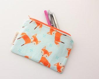 Zip pouch, Zipper pouch, Purse, Pencil Case, Flat, Cute, Mr Fox, Mint, Beige, Handmade, Gift for Her, Teen Birthday, Makeup Bag, Cute Gift