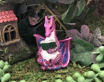 Miniature Purple Dragon Reading a Book