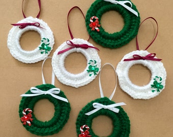 Crochet Wreath Ornament, Set of 6, Wreath Pkg Tie Ons, Wreath Ornament