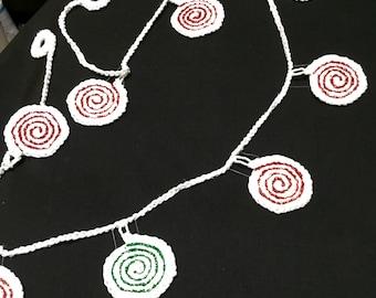 Crochet Christmas Garland, Christmas Garland, Crocheted Garland, Christmas Party