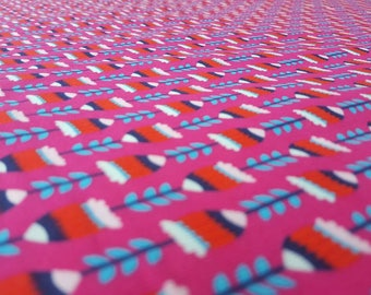 Printed Cotton Needlecord / Baby cord / Corduroy Fabric: Hot Pink with Geometric Design