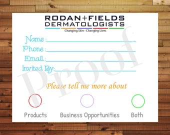 Rodan & Fields Event Customer Information Card ~ Digital Download