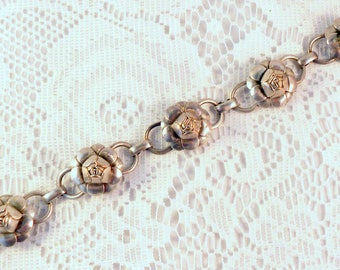 CORO Bracelet Vintage Rosebud Silver Tone Linked Bracelet