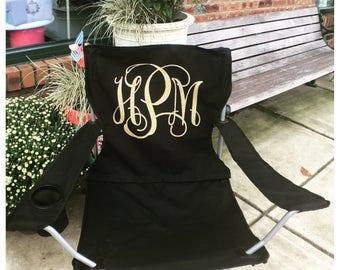 Monogrammed Folding Chair, Glitter Monogrammed Chair