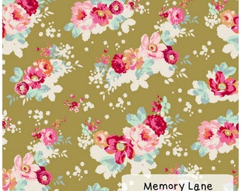 Tilda Memory Lane Flowercloud Olive fabic fat quarter crafting sewing quilting patchwork 100% cotton floral fabric