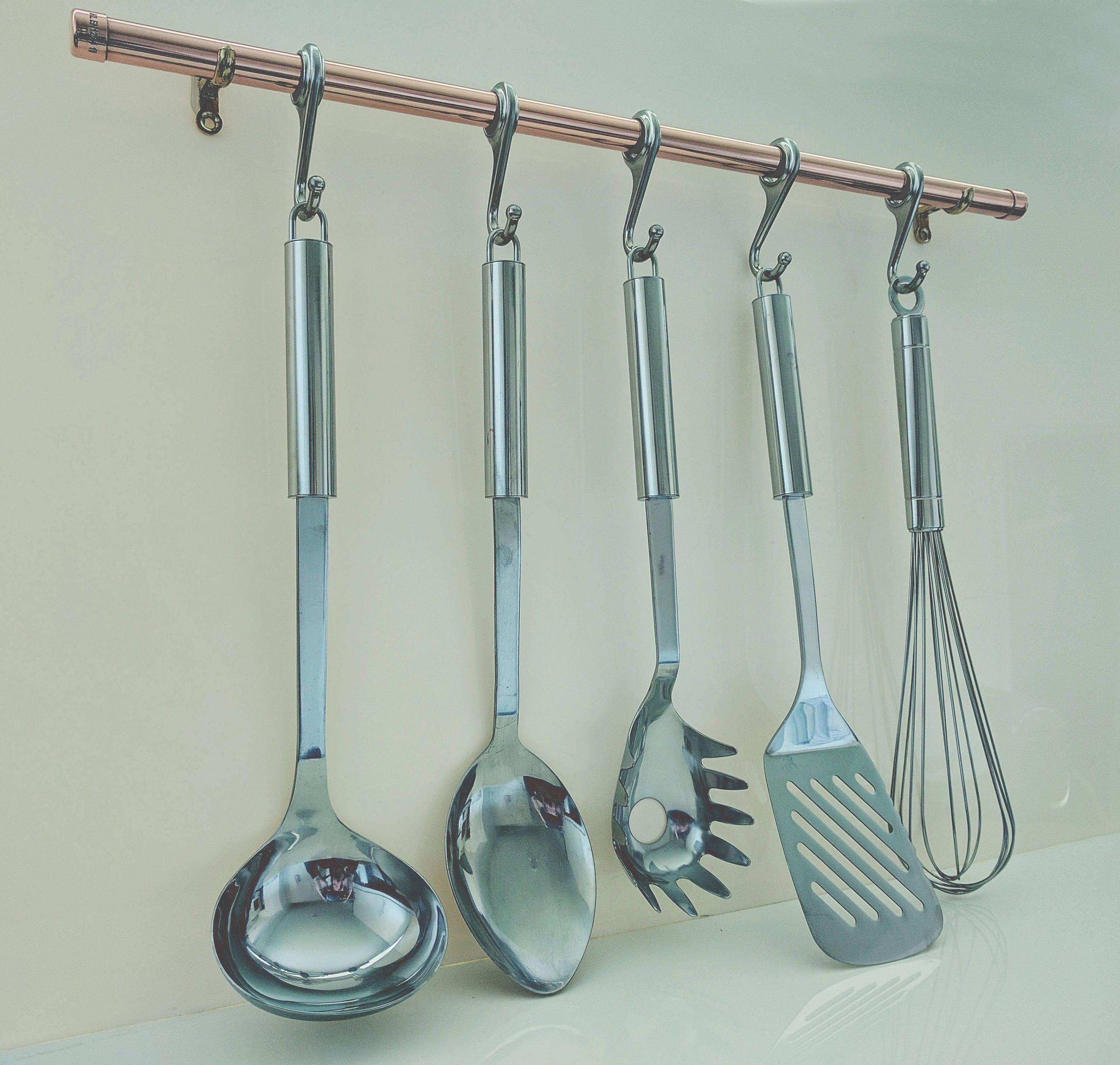 Copper Rose Gold Pot And Pan Rail Pan Organiser Kitchen Storage ...