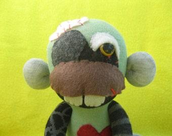 Zombie Sock Monkey No. ZPB12017-101 - Handmade Cute Horror Doll