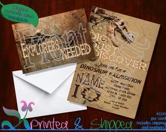 Dinosaur Excavation Invitation; Folded Card; Postcard; PDF; E-Card