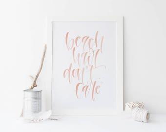 Beach Hair Don't Care Peach Handwritten Calligraphy Art Print