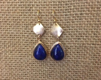 Lapis and gold filled drop earrings