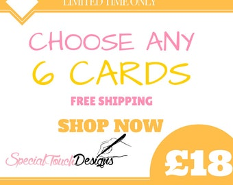 Pack of Any 6 mixed cards - African Fabric Cards/Ankara cards