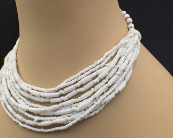 Vintage Art Deco White Milk Glass Choker Bead Multi Strand Adjustable Necklace (15 IN) Signed West Germany
