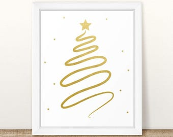Merry Christmas Printables, Christmas Tree Art, Holiday Prints, Christmas Decor, Christmas Prints, Instant Download, Gold Foil Art