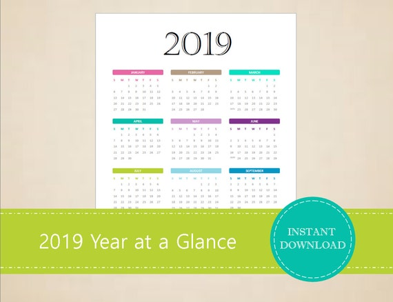 2019 Year At A Glance Full Year Calendar 2018 Calendar