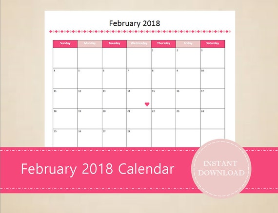 Printable February 2018 Calendar Seasonal monthly calendar