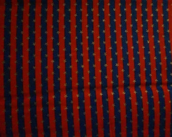 Americana: Red & Blue Stripes (with tiny gold metallic stars); sold by the yard