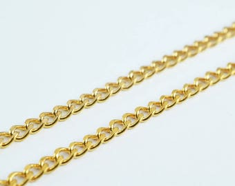 "Pinky Gold Filled Cuban Chain Curb Chain 18KT Gold Filled Size 17.25"" Long 2mm Width 1mm Thickness Item #CG113"