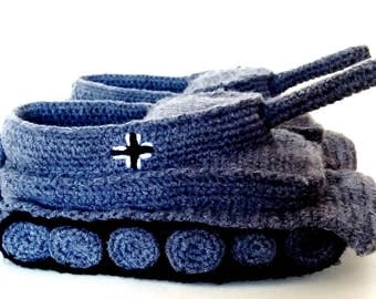 Tank Slippers in Grey Gift for Men (MADE TO ORDER)