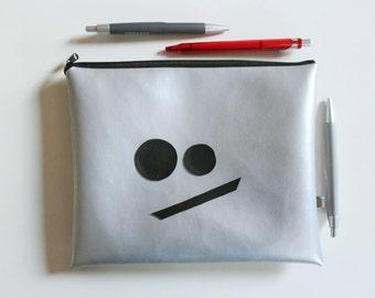 Funny bag 02 metallic - time dress - silver bag, gifts for her, mini bag Silver metallic, mini bag, funny bags, smiley bag