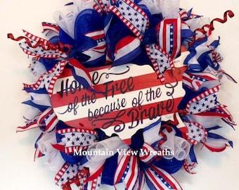 Patriotic Wreath, Americana Wreath, Summer Wreath, Memorial Day Wreath, Veterans Day Wreath, 4th of July Wreath, Red White and Blue Wreath