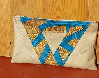 TRIANGLE suede patchwork and wax, zipper pouch, lining
