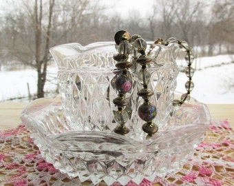 Vintage Cut Glass, Dessert Cup and Dish, Diamond Pattern, Home Decor, Jewelry Storage