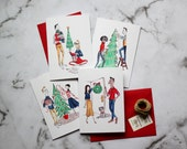 Christmas Spirit - Set of 4 Greeting Cards