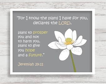 Bible Verse Printable Wall Art, For I know the plans I have for you, Jeremiah 29:11, Printable Scripture Christian Printable Christian Art