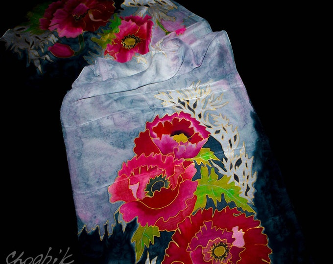 Hand Painted Silk Scarf - Batik - Armenian silk scarf - Flowers - Black, Red, Pink, Green, Grey - Gift - After's work