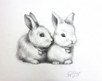 ORIGINAL pencil  drawing, cute bunny, rabbit, lapin, animal Illustration, nursery art, gift, home decor