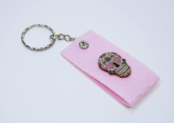 Key ring of colorful skull pink and rhinestone keychain Keyring Keychain felt Dia de Muertos Mexican Skulls